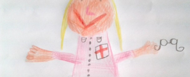 Rysunek małej pacjentki Karolinki dla pani doktor Soneckiej
